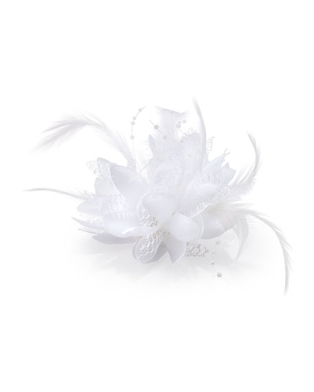 Feathered Lace Fascinator Hair Clip, White