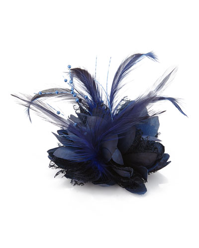 Bow Arts Feathered Floral Fascinator, Navy
