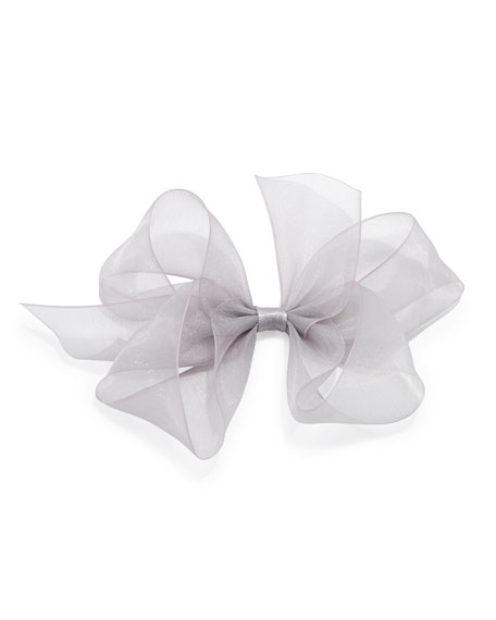 Small Chiffon Organdy Bow, Silver