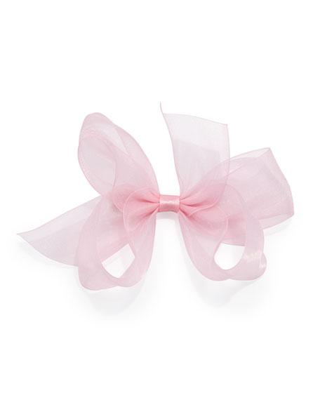 Small Chiffon Organdy Bow, Light Pink