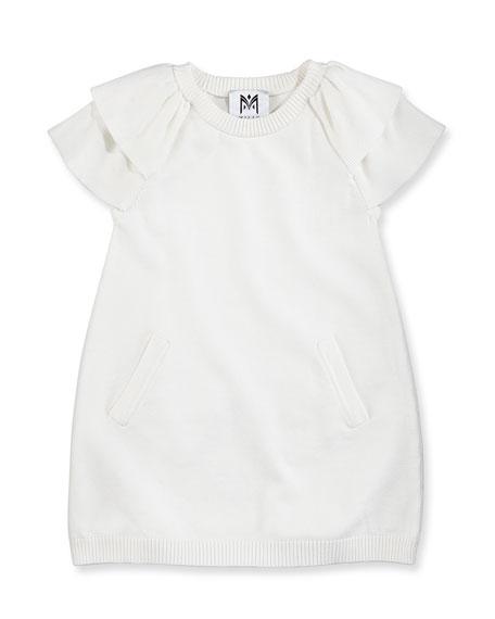 Ruffled Raglan Tunic Dress, White, Girls' 8-12