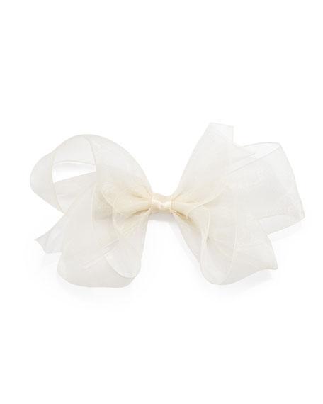 Small Chiffon Organdy Bow, Ivory