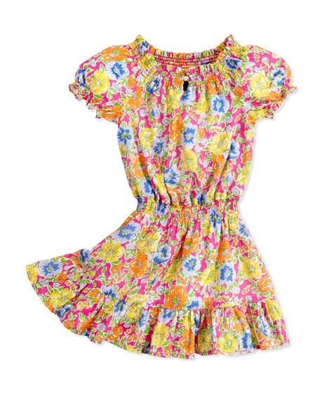 Floral-Print Dobby Dress, Girls' 4-6X