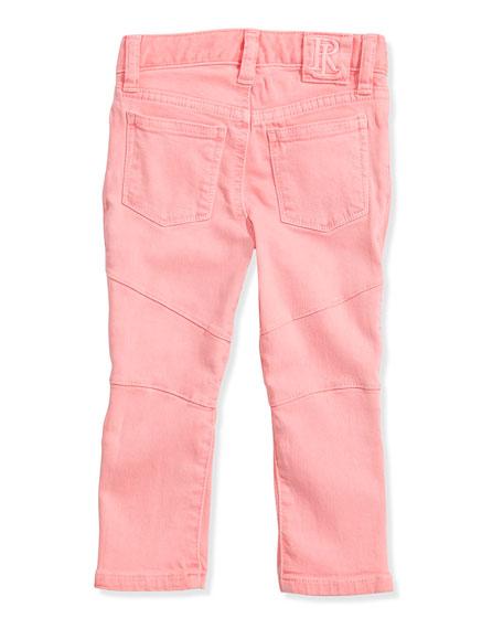 Neon Denim Biker Jeans, Pink Frosting, Girls' 4-6X