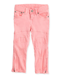 Ralph Lauren Childrenswear Neon Denim Biker Jeans, Pink Frosting, Girls' 4-6X