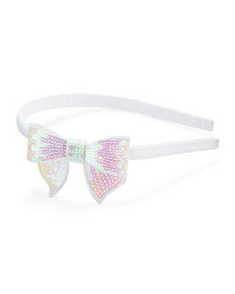 Bow Arts Headband with Sequined Bow, White