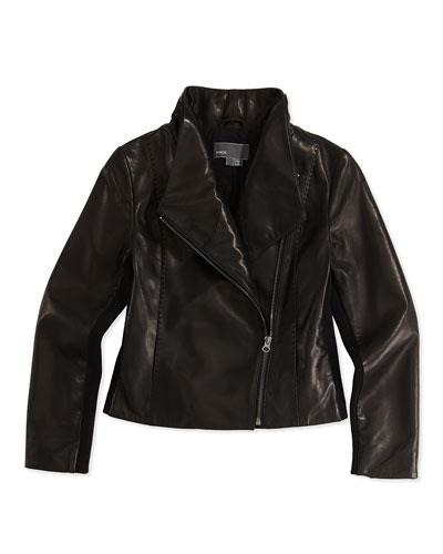 Girls' Scuba Leather Jacket, Black
