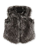 Vince Girls' Faux-Fur Vest, Black, 4-6X