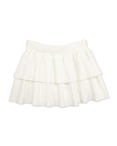Knit Tiered Ruffle Skirt, White, Girls