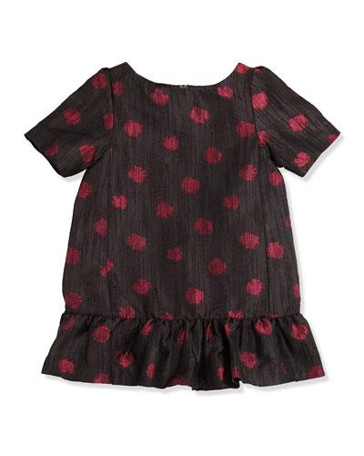 Lili Gaufrette Lapastille Polka-Dot Dress, Black, Girls' 8-12