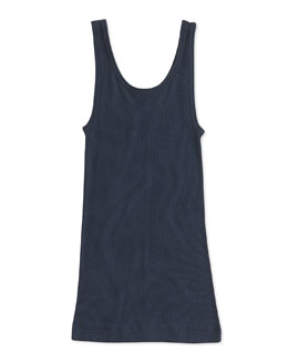 Vince Girls' Favorite Ribbed Tank Top, Blue, 4-6X