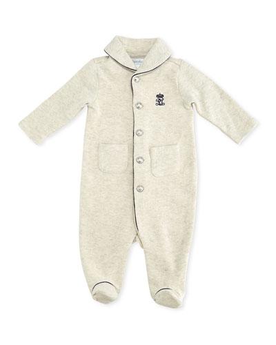 Ralph Lauren Childrenswear Shawl-Collar Knit Coverall, Sand, 3-9 Months