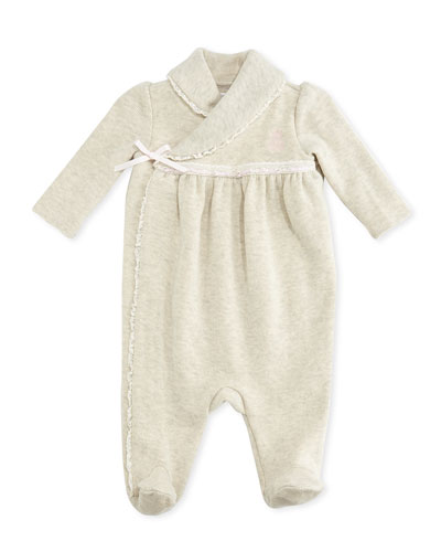 Ralph Lauren Childrenswear Lace-Trimmed Ribbed Coverall, Sandstone Heather, 3-9 Months