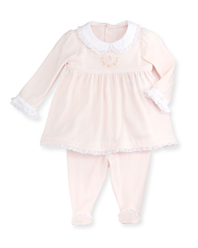 Ralph Lauren Childrenswear Pima Cotton Sueded Jersey Pant Set, Delicate Pink, 3-9 Months