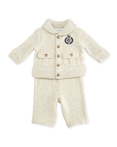 Ralph Lauren Childrenswear Shawl-Collar Cardigan & Pant Set, Sandstorm Heather, 3-12 Months