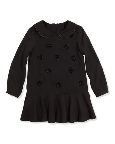 Little Marc Jacobs Girls' Embellished Crepe Dress, Black, Girls' 6-12