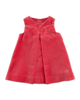 Tartine et Chocolat Velour Dress with Bow, Light Pink, Girls' 3M-2T