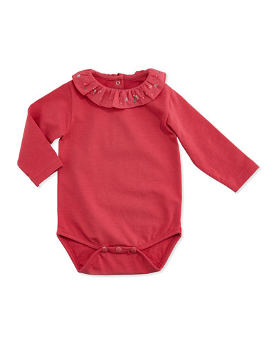 Tartine et Chocolat Ruffle-Collar Knit Playsuit, Light Pink, 3M-2Y