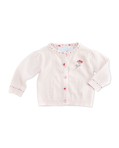 Tartine et Chocolat Embroidered Knit Cardigan, Light Pink, 3M-2Y