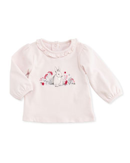 Tartine et Chocolat Long-Sleeve Rabbit-Print Tee, Light Pink, 6M-2T