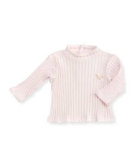 Tartine et Chocolat Ribbed Long-Sleeve Top, Light Pink, 6M-2T