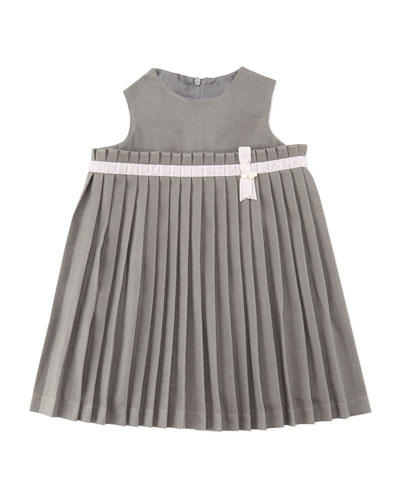 Tartine et Chocolat Girls' Pleated Knit Dress, Gray 3M-2Y