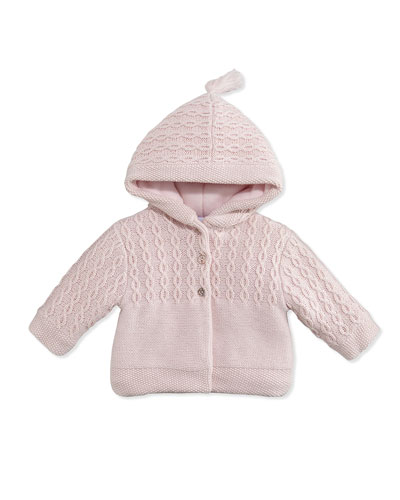 Tartine et Chocolat Hooded Cable-Knit Jacket, Pink, 3M-6M