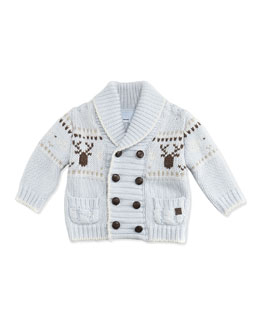 Tartine et Chocolat Heavy Knit Cardigan, Blue, 3M-2T