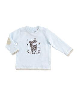 Tartine et Chocolat Reindeer-Print Long-Sleeve Tee, Blue, 3-24 Months