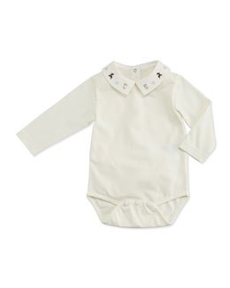 Tartine et Chocolat Boys' Bodysuit with Embroidered Collar, Pearl, 3M-3T