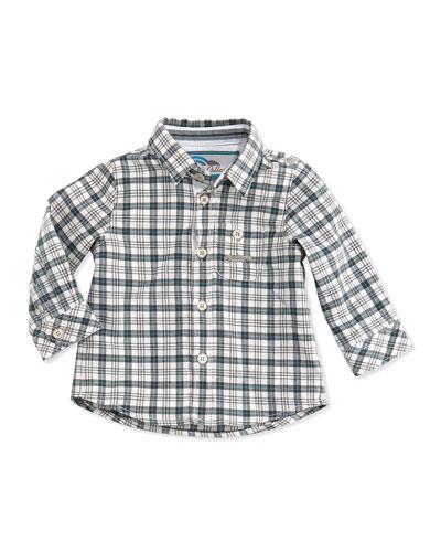 Tartine et Chocolat Plaid Button-Down Shirt, Blue, 3M-2T