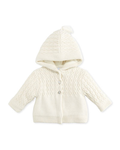 Tartine et Chocolat Knit Hooded Jacket, Pearl, 3-6 Months
