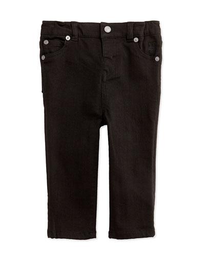 Five-Pocket Denim Trousers, Black, 3-24 Months