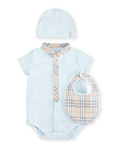 Playsuit, Baby Hat & Bib, Porcelain Blue, Size 1-18 Months