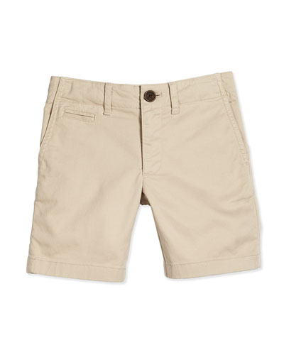 Boys' Chino Shorts, Stone, Size 4-14