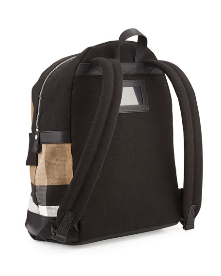 Tiller Check & Leather Backpack, Black