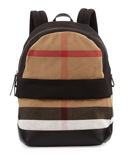 Burberry Tiller Check & Leather Backpack, Black