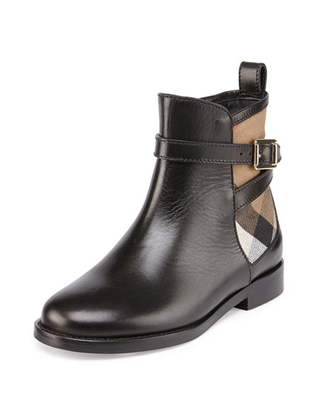 Burberry Richardon Leather and Check Ankle Boot, Black,