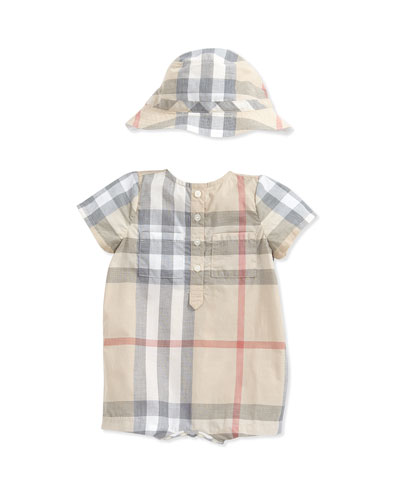 Check Shortall & Hat Set, Pale Stone, 3-24 Months