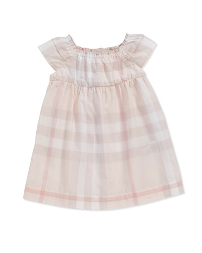 Check Ruffle-Sleeve Dress, Ice Pink, 3-24 Months