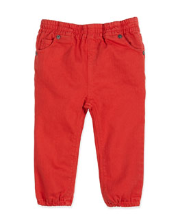 Cotton-Twill Trousers, Military Red, 3-24 Months