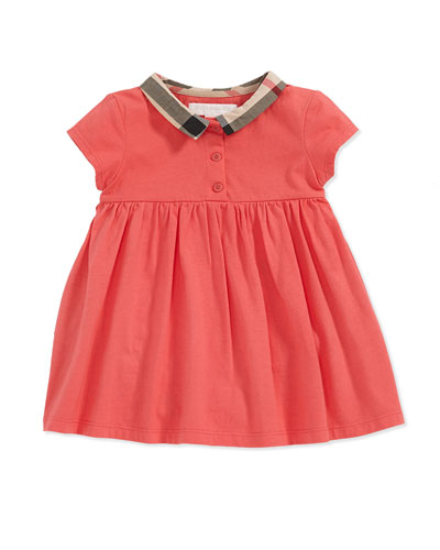 Check-Collar Cotton Dress, Pomegranate Pink