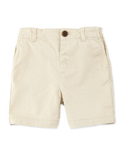 Stretch-Cotton Shorts, Stone, Size 3M-3Y