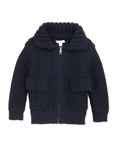 Burberry Chunky-Knit Zip Sweater, Navy, 4Y-14Y