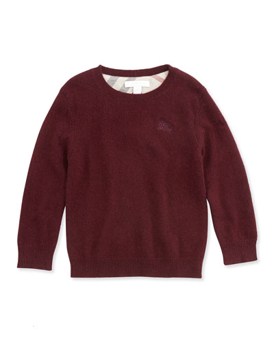 Burberry Cashmere Boys' Knit Elbow-Patch Sweater, Dark Red, 4Y-10Y
