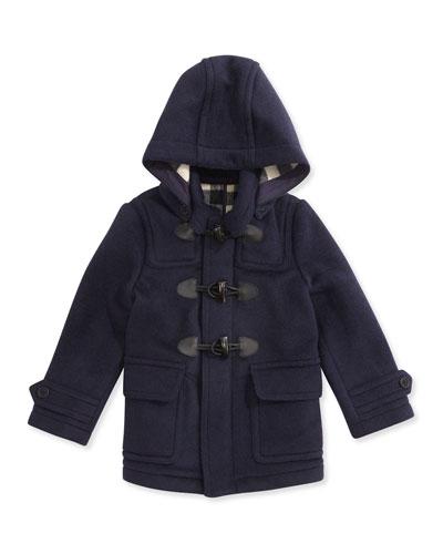Burberry Boys' Wool Hooded Coat, True Navy, 4Y-10Y