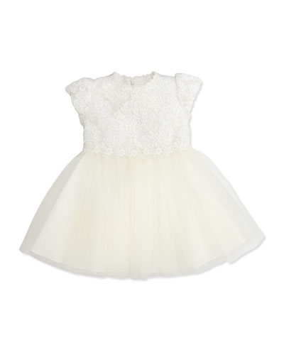 David Charles Lace and Net Dress, Ivory, 6-36 Months