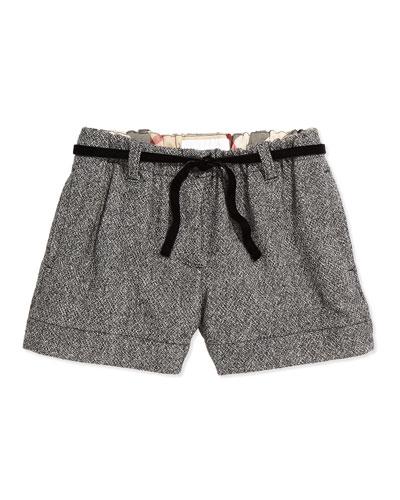 Burberry Tweed Shorts with Velvet Belt