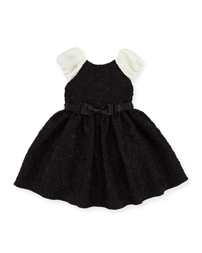 Cloque Fit-And-Flare Dress, Black/Ivory, Girls