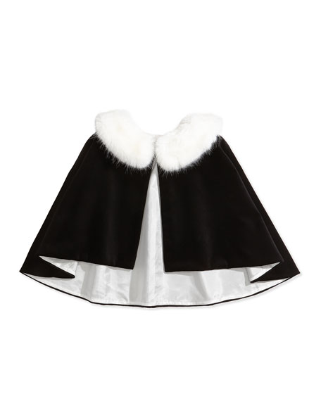 David Charles Velvet Fur-Collar Cape, Black/Ivory, Sizes 2-12